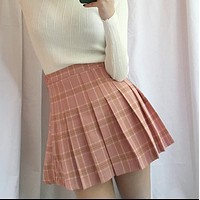 Korean summer soft sister student fashion girl plaid skirt waist was thin pleated skirt A word skirt