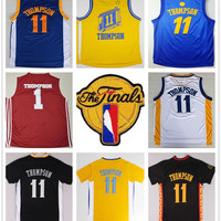 2017 Finals 11 Klay Thompson Jersey Home Blue White Yellow Black Sports Shirt With Patch Red 1 Klay Thompson College Basketball Jerseys