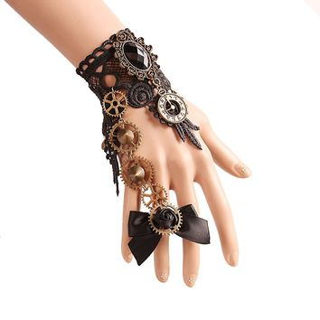 Women's Gothic Lolita Retro Steampunk Watch Gear Lace Slave Bracelet Wristband Black Flower Ring For Girls Give Yourself the Most Beautiful Gift
