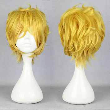 Sexy Design 32CM Long Short Yellow male wig anime karneval- YOGI Elastic Wig Cap Cosplay Wig,Colorful Candy Colored synthetic Hair Extension Hair piece 1pcs WIG-339B