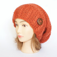 Wool orange slouch hat women - beanies hat - Slouch Beanie - Large hat - chunky hat - Chunky Knit Winter Fall Accessories , Slouchy hat