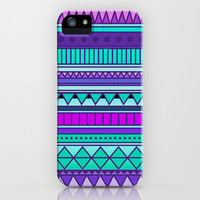 Colorful Purple Mint Turquoise Cute Girly Urban Tribal Geometric Aztec Pattern iPhone & iPod Case by hyakume