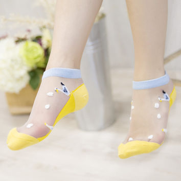 Marine Style Embroidery Short socks Bottom cotton Women transparent socks Summer Cartoons girls cute Slim short sock 10colors