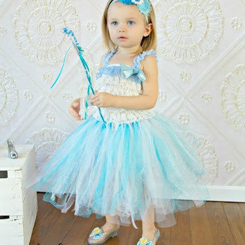 Disney Princess Dress Up Handmade Blue Silver and White Tutu with Light Blue Dark Blue and White Headband Cinderella Tutu Baby Teen Girl