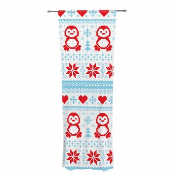 "KESS Original ""Pixel Penguin Holiday"" Christmas Pattern Decorative Sheer Curtain"