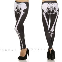 NEW TRENDY POPULAR X RAY SKELETON LEG BONE LEGGINGS SLIM PANTS TIGHTS S M L