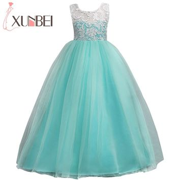 Floor Length Ball Gown Flower Girl Dresses 2018 Soft Tulle Lace First Communion Dresses For Girls Kids Evening Gowns