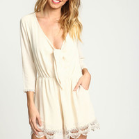 CREAM KNOTTED CROCHET TRIM ROMPER