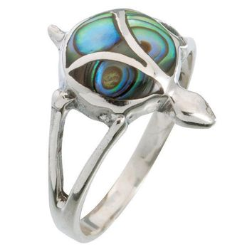 PEAPGQ9 Turtle Swirl Stone Sterling Silver Ring