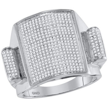 10kt White Gold Mens Round Pave-set Diamond Rectangle Dome Cluster Ring 3/4 Cttw