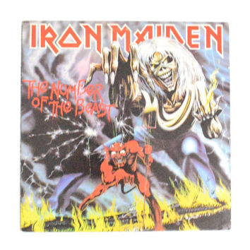 Vintage 80s Iron Maiden The Number of the Beast Album Record Vinyl LP