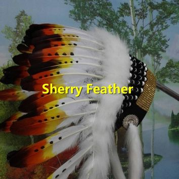 21inch Indian Feather headdress american costumes halloween costume indian chief war bonnet