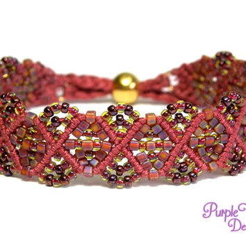 CLEMATIS Beaded Macrame Bracelet with Geometric Pattern, Woven Seed Beads Bracelet - Berry/Dark Topaz AB