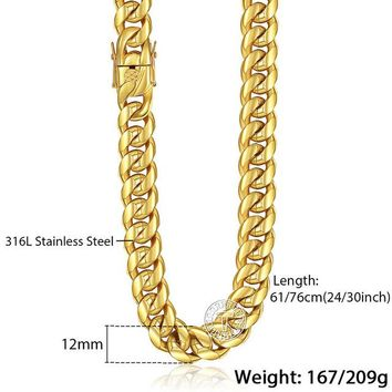 Miami Curb Cuban Mens Necklace Chain 316L Stainless Steel Hip Hop Silver Gold Color 8/12/14mm