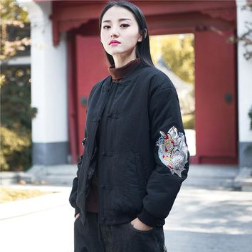 Johnature 2018 Winter New Women Embroidery Jackets Coat Cotton Linen Button Vintage Long Sleeve Chinese Style Women Warm Coats