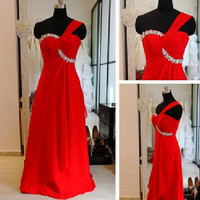 A-line One-shoulder Sleeveless Floor-length Chiffon Bridesmaid Dress With Rhinestone Free Shipping