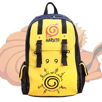 Naruto Sasauke ninja Anime  Kuramakyuubi Uzumaki Backpack Leather Satchel Schoolbag Book Bag Laptop Bags Student Boys Large Knapsack Purse Gift AT_81_8