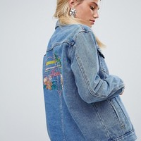 Oasis havana slogan denim jacket at asos.com