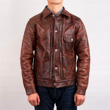 genuine horse skin leather jacket 506XX mens casual vintage rider jacket