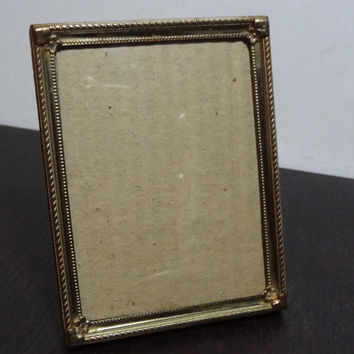 Antique Brass or Gold Plated Convex Bubble Glass 3 1/4 x 4 1/4  Picture Frame - Hollywood Regency/Paris Apartment/Art Deco Style
