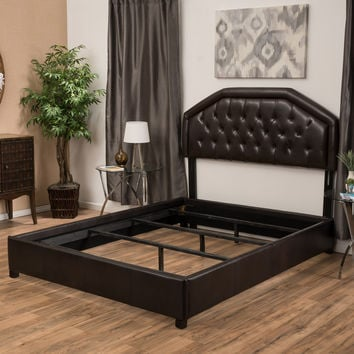 Anthony Tufted Brown Leather Queen Size Bed Set
