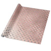 Hearts Silver Pink Rose Powder Gold Gray Wrapping Paper