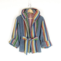 Vintage 60s Indian Blanket Coat -- Rainbow Striped Saddle Blanket Jacket with Hood -- Native Wool Coat -- Bell Sleeves -- Womens Size S
