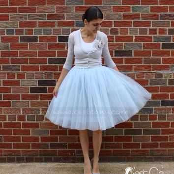 PLUS SIZE Cassie Light Gray Tulle Skirt, from C'est Ça New York