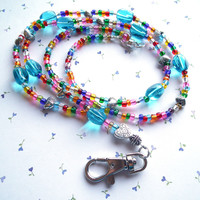 Bright Colors - Multicolor Beaded Lanyard with Hearts, Rounded Lanyard Clasp