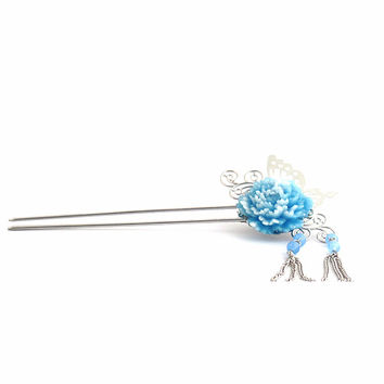 Stylish Butterfly and Pearl Hair Stick Pin with Blue Flower 7dc9e6950