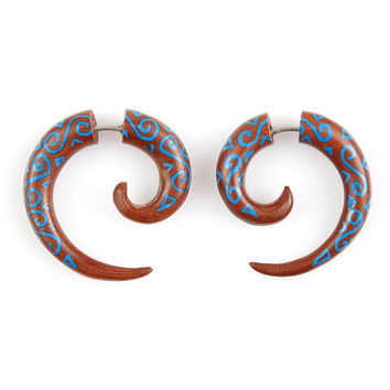 "Fake Gauge Earrings - Wood Tribal Earrings - Fake Plug Piercing Jewelry - Saba Wood ""Painted Kanaka Coils 4mm"" Wood Earrings - Fake Plug"