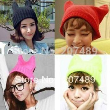 DCCKU62 ladies''s fashion devil horns cat ear Knitted hat Beanie Cap Autumn Spring Winter multi colors option whcn+