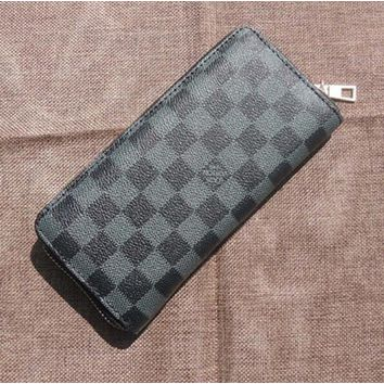 LV Fashion Women Simple Leather Single Zipper Handbag Wallet Purse Black Plaid