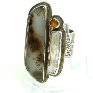 Moss Agate, Mother of Pearl & Amber Sterling Silver Ring - Studio Art Design by Tabra