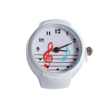 Retro Watch Ring - White