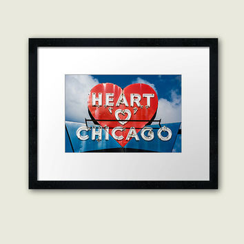Chicago Photography, Heart of Chicago, Cityscape Photo, Fine Art Print, Vintage Sign, Lincoln Avenue, Urban Landscape, Northwest Chitown