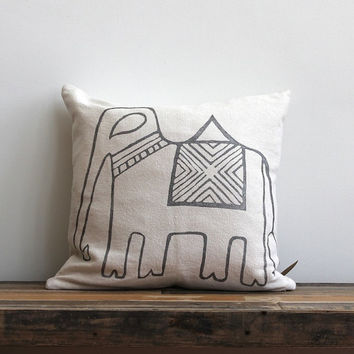 elephant pillow cover hand printed in metallic silver on off-white hemp 20 x 20