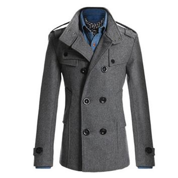 Men's Classic Double Breasted 3/4 Length British Style Trench Coat