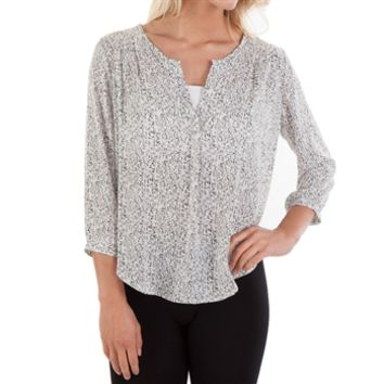 Lush Juniors Clara 3/4-Sleeve V-Neck Shirt at Von Maur