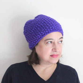 Purple Slouchy Knit Beanie, Warm Winter Hat, Chunky Knits, Women's Accessories, Cozy Hat, Wool Beanie, Violet Hat