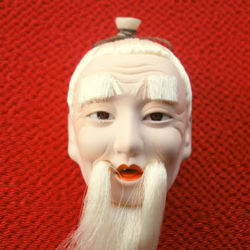 Japanese Doll Head - Old Man - Japanese Doll - Hina Doll - Hina Matsuri - D4-33