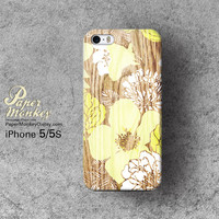 Abstract  yellow floral on wood / not real wood, Unique Decoupage case, Samsung galaxy S4, iPhone 5/5S, iPhone 4/4S, iPhone 3Gs case.