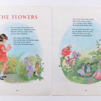 The Flowers - Vintage Picture and Poem by Robert Louis Stevenson - Nursery Decor - Childs Bedroom - Paper Ephemera