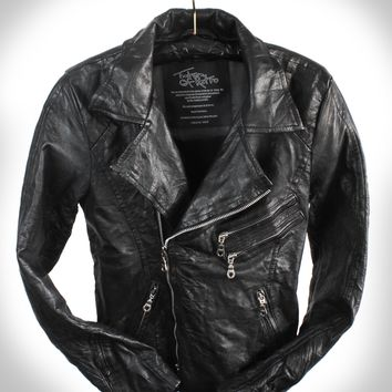 """Black Rebel"" Hand Scar Stitched Heavy Washed Lambskin Double Rider Leather Jacket"
