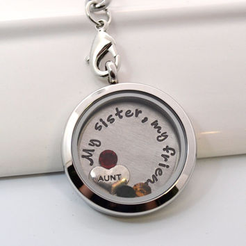 Personalized Sister Aunt Floating Locket Keychain with Charms
