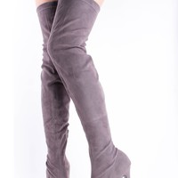 GREY VELVET STRETCHY OVER THE KNEE THIGH HIGH HEEL BOOTS