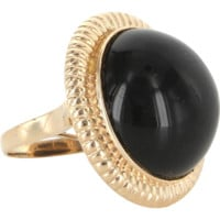 Vintage Large Onyx Round Cocktail Ring 14 Karat Yellow Gold Estate Fine Jewelry