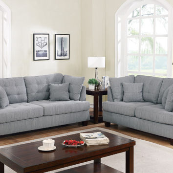 Poundex F6401 2 pc Collette II grey polyfiber fabric sofa and love seat set