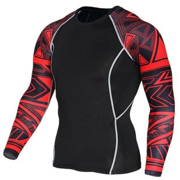 DCCKFS2 2018 New Long Sleeve Sport Shirt Men Quick Dry Men's Running T-shirts Snake Gym Clothing Fitness Top Mens Rashgard Soccer Jersey