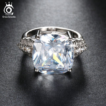 ORSA JEWELS Luxury 8 Ct Cushion Cut CZ Crystal Women Ring Big Size Stone Ring for Ladies 3 Layer Platinum Plated OR100